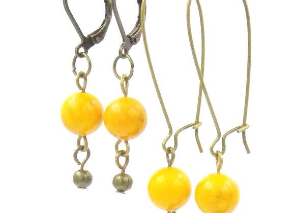 Nine -  Boucles d'oreilles Howlites jaunes