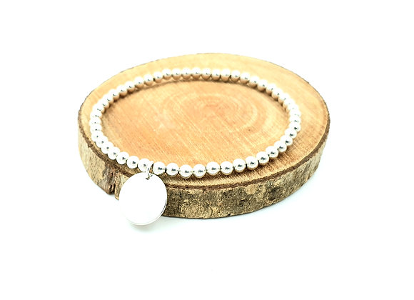 Bracelet argent - Perles 4mm - pendentif médaille ronde