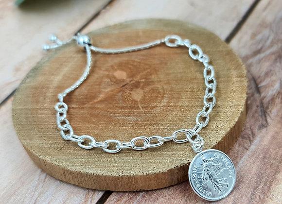 Bracelet argent 925 lien coulissant - pendentif pièce de 1 franc