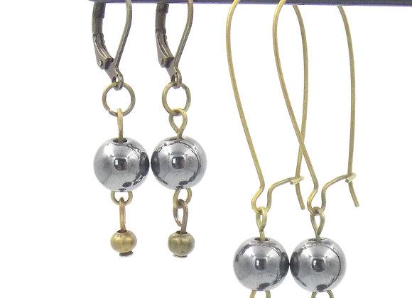 Nine -  Boucles d'oreilles Hématite