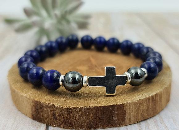 Lapis Lazuli- croix argent 925