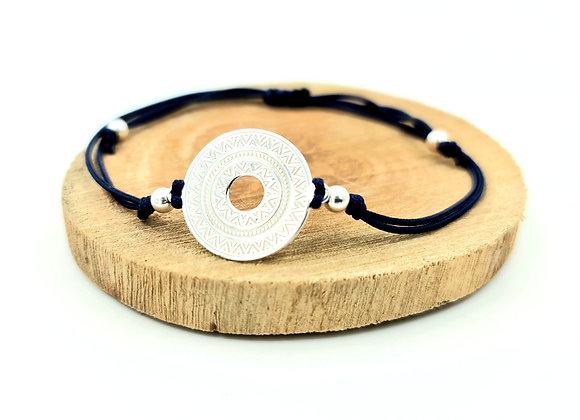 Bracelet cordon  - intercalaire motif ethnique en argent