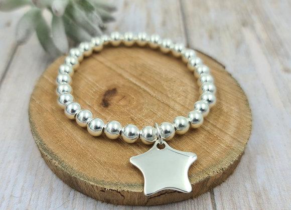 Bracelet argent - Perles 6mm - pendentif étoile bombée