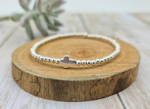 Bracelet argent 925 - perles 3mm intercalaire croix