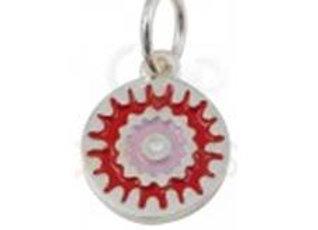 Bracelet cordon  - Pendentif mandala rouge et rose émaillé et argent 925