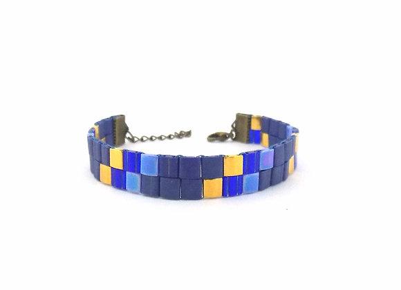 TYLA #5- bracelet souple perles tissées camaïeu de bleu et doré