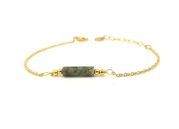 CALI Vert marbré-  Bracelet gold filled et perle cylindrique d'Agate mousse