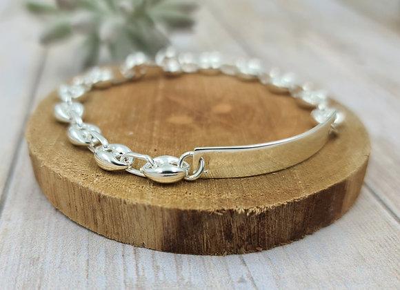 Bracelet femme chaîne grain de café - intercalaire plaque/gourmette en