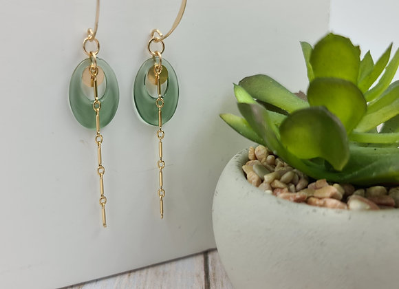 Les lumineuses ! Boucles  pendentif ovale vert transparent