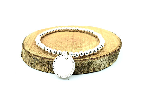 Bracelet argent 925 - pendentif rond décoré