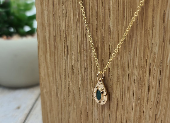 Collier court gold-filled pendentif aventurine verte