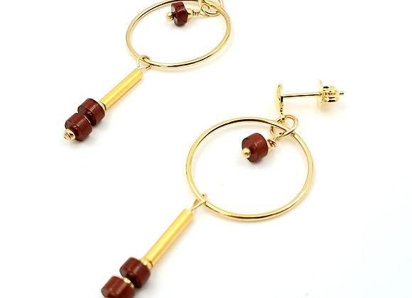Boucles LUNIA gold filled - rondelles de pierre de Jaspe rouge