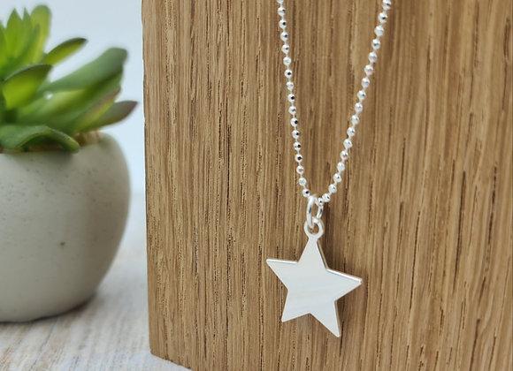 collier court en argent 925 - pendentif étoile plate