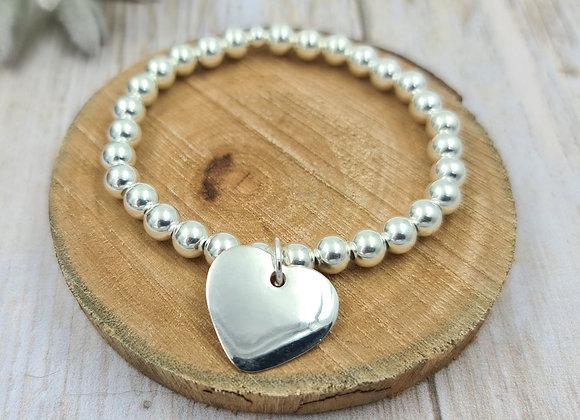 Bracelet argent 925 - perles 6mm -  coeur bombé 20mm
