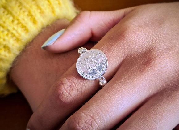 Bague perles 4mm argent 925 - réplique pièce de 1 franc