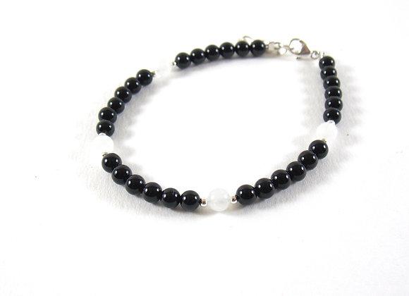 Bracelet argent 925, Perles d'Onyx, Pierre de Lune