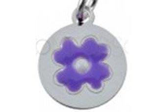 Bracelet cordon  - Pendentif fleur violette émaillée et argent 925