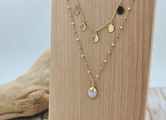 Collier Galatée double rang gold filled - phases de la lune et pierre de Lune