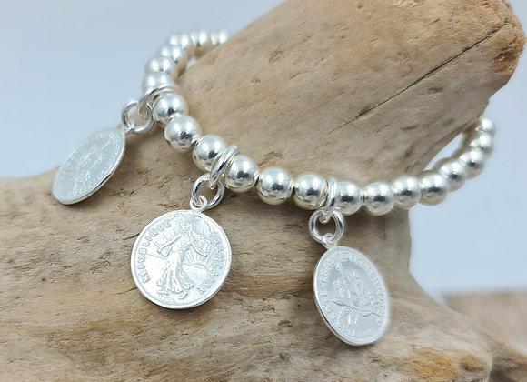 Bracelet argent 925 - perles 6mm - 3 pièces de 1 franc
