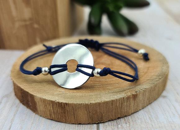 Bracelet cordon Femme  - intercalaire Cible en argent