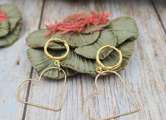 Boucles dormeuses rondes gold-filled Pendentif CŒUR grand modèle