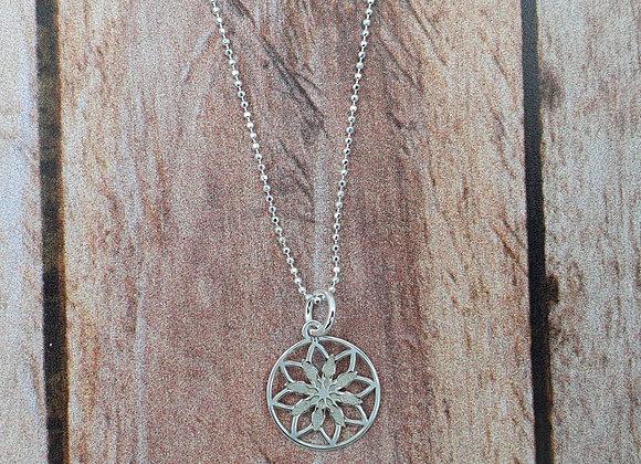 collier court en argent 925 - pendentif estampe fleur