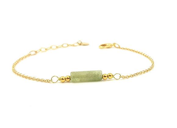 CALI vert anis -  Bracelet gold filled et perle cylindrique d'Agate
