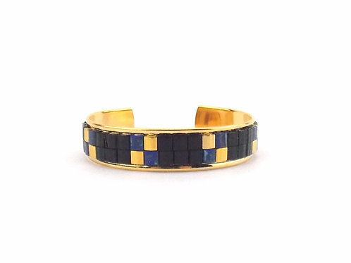 TYLA - bracelet manchette perles tissées noires et bleues Picasso