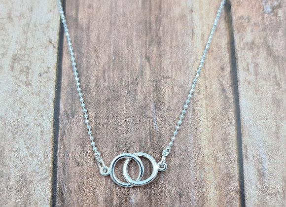 collier court en argent 925 - pendentif anneaux entrelacés