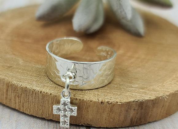 Bague martelée argent 925 réglable - pendentif croix zircon cristal