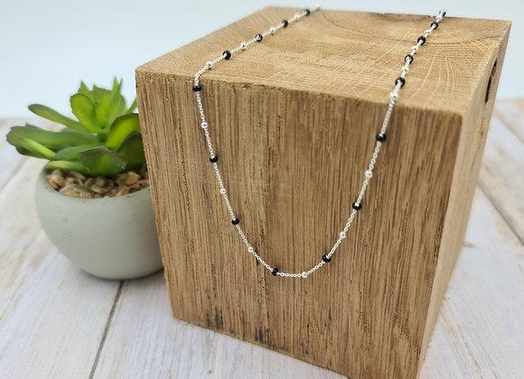 Collier court perles argent 925 et perles noires à personnaliser