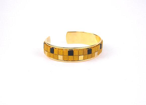 TYLA - bracelet manchette perles tissées moutarde