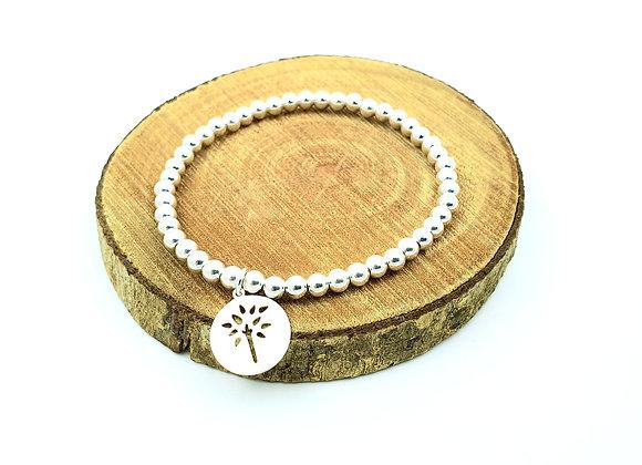 Bracelet argent  - Perles 4mm - pendentif motif arbre