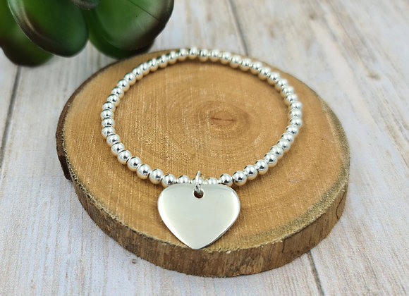 Bracelet argent 925 - perles 4mm -  coeur bombé 21mm