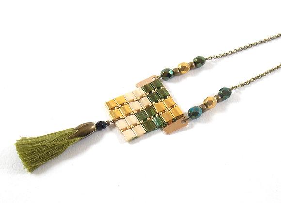 Sautoir NIL vert et or  - Sautoir perles tissées et pompon