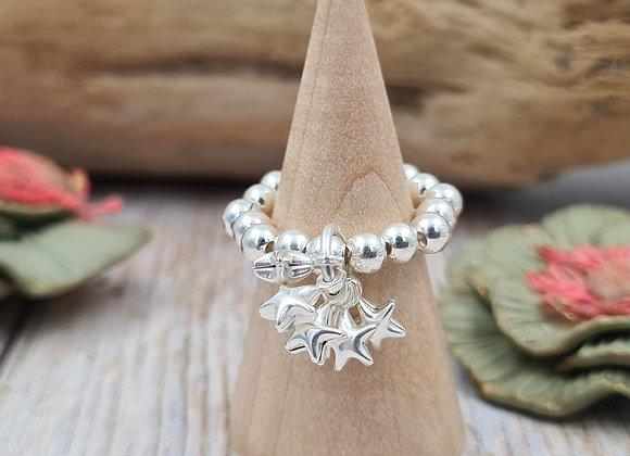 Bague perles 4mm argent 925 - grappe d'étoiles