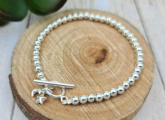 Bracelet argent 925 - perles 3mm - fermoir T