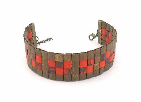 TYLA #3 - bracelet souple perles tissées marron et brique