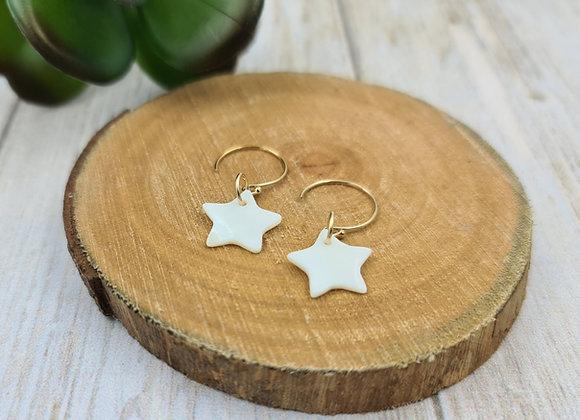 Les lumineuses ! Boucles minimalistes pendentif étoile nacrée