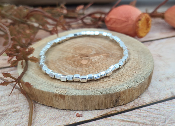 Bracelet argent - Perles carrées 3mm