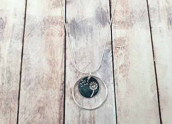 Collier argent 925 - pendentif fleur de pissenlit