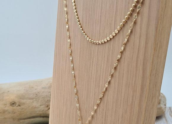 Collier double rang plaqué or et gold filled- pendentif mandala