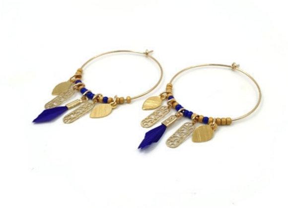 Créoles PLUMES gold filled - Bleu roi