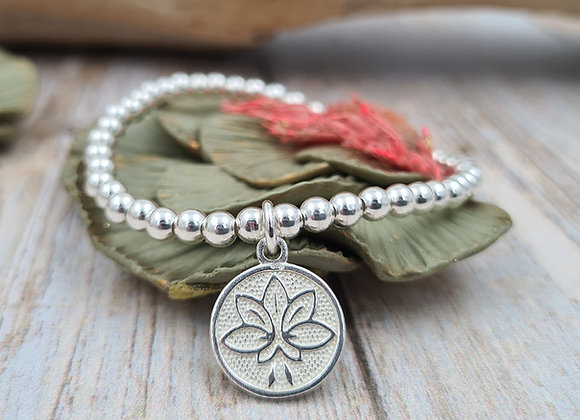 Bracelet argent - Perles 4mm - pendentif fleur de lotus