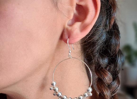 Boucles créoles argent 45mm- grappes de perles