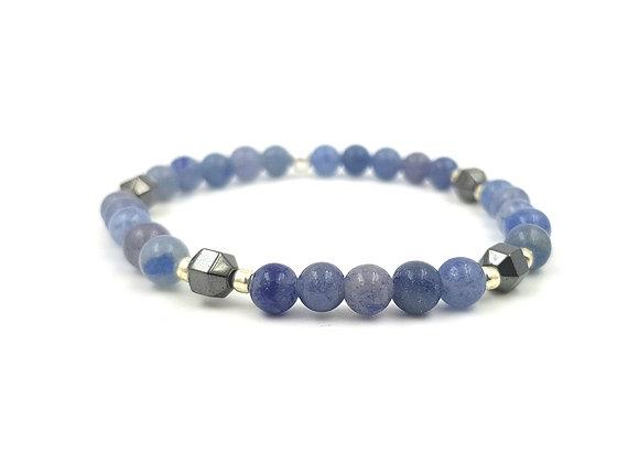 Bracelet Aventurine bleue et Hématite