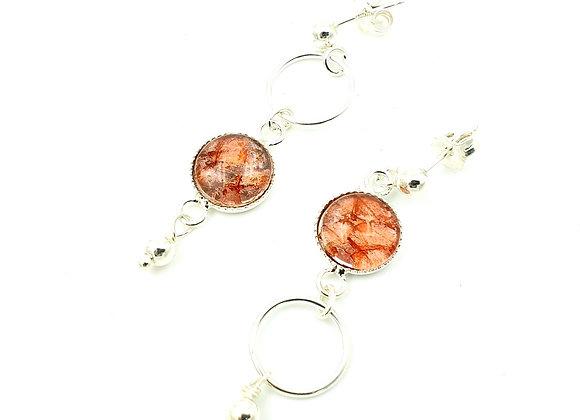 Boucles d'oreilles inversées - cuir de saumon orange