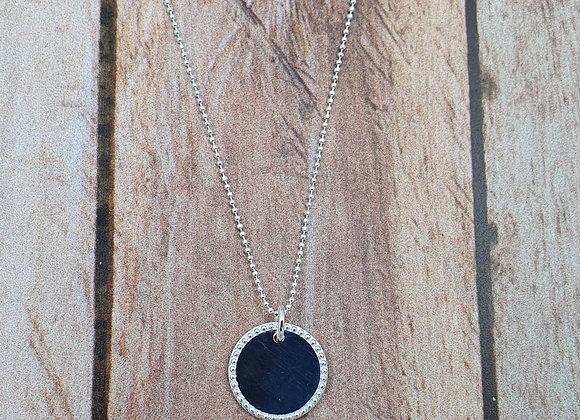 collier court en argent 925 - pendentif rond décoré