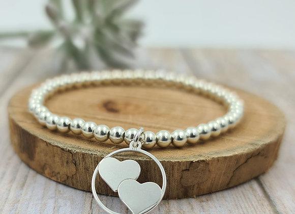 Bracelet argent - Perles 4mm - pendentif coeurs