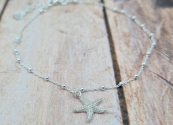 Chaîne de cheville argent 925 - pendentif étoile de mer
